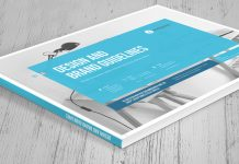 Adobe InDesign brand manual template with blue accents from MrTemplater.