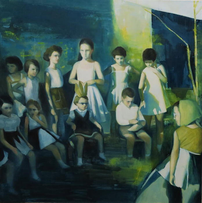 Katia Lifshin, Birthday Party, oil on canvas, 100x100 cm