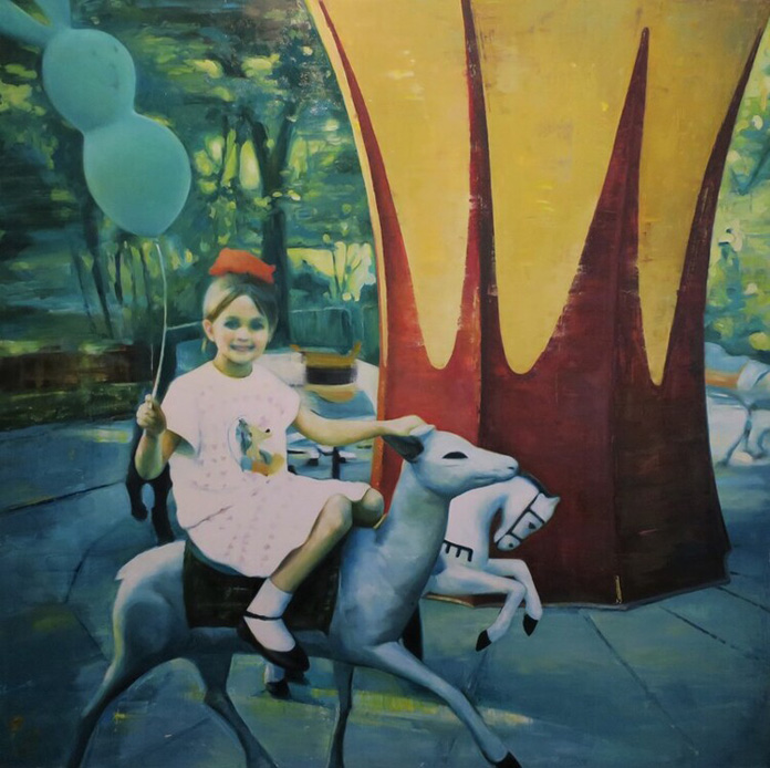 Katia Lifshin, Carousel Ride, oil on canvas, 120x120 cm