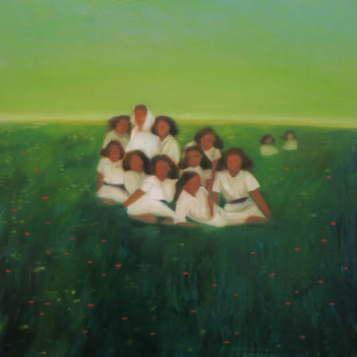 Katia Lifshin, Girls on a meadow, oil on board, 40x40 cm