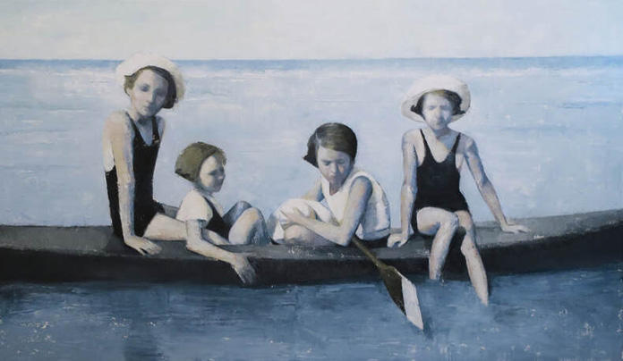 Katia Lifshin, Girls on canoe, oil on canvas, 70x120 cm