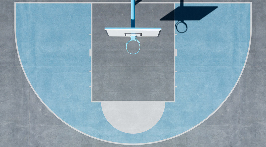 Shots of basketball courts from the Daily Geometry aerial photography series by Petra Leary.