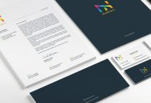 Stationery template for Adobe Illustrator with colorful design elements.