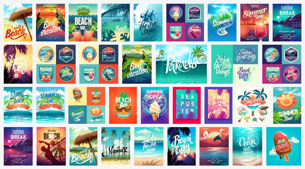 Summer vacation vector graphics.
