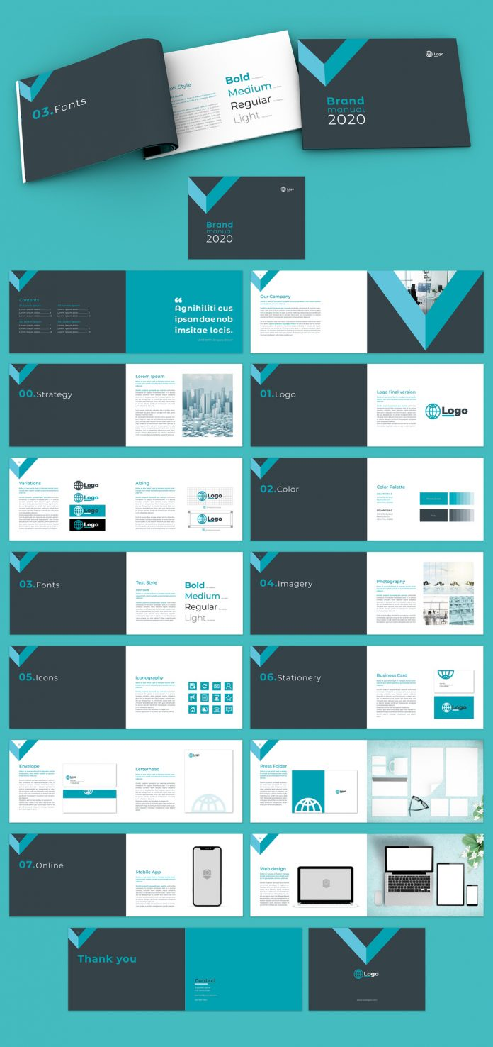 This brand guidelines template for Adobe InDesign consists of 32 fully editable pages.
