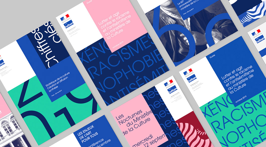 Visual identity design by Graphéine for French Ministry of Culture.