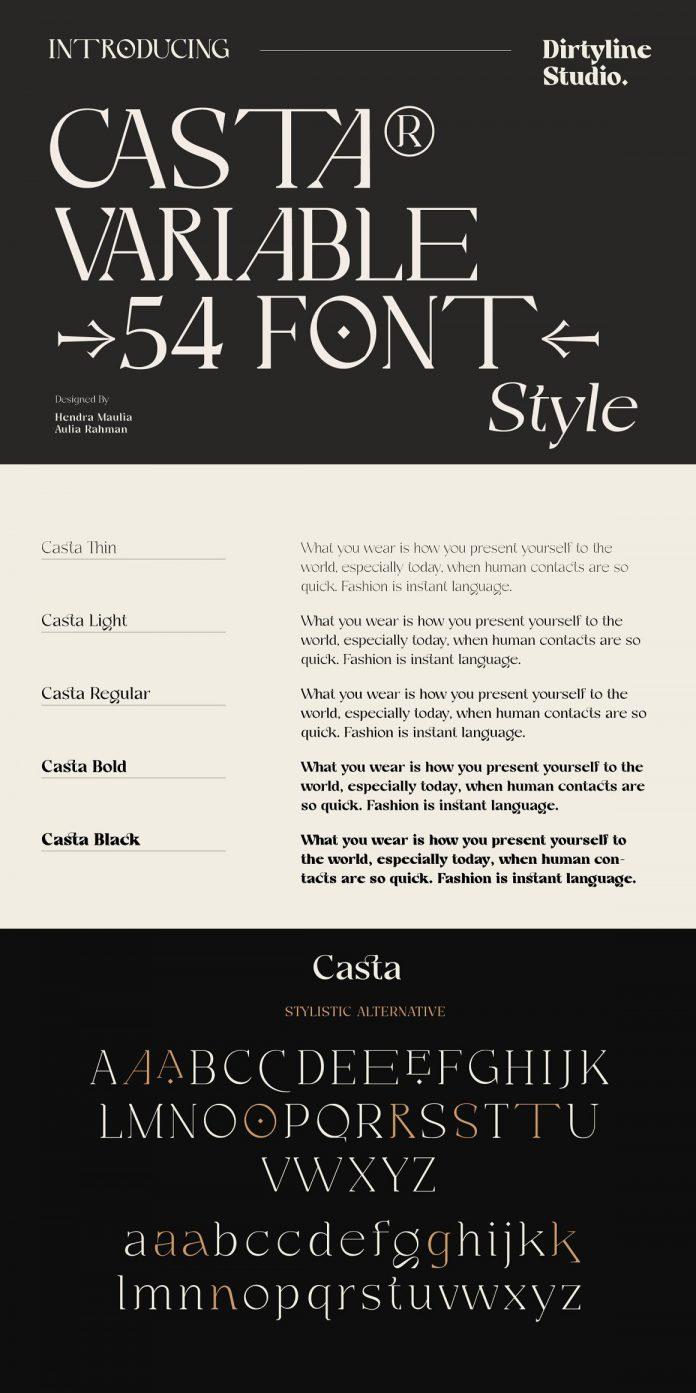 Casta – Display Sans Serif Font Family by Dirtyline Studio
