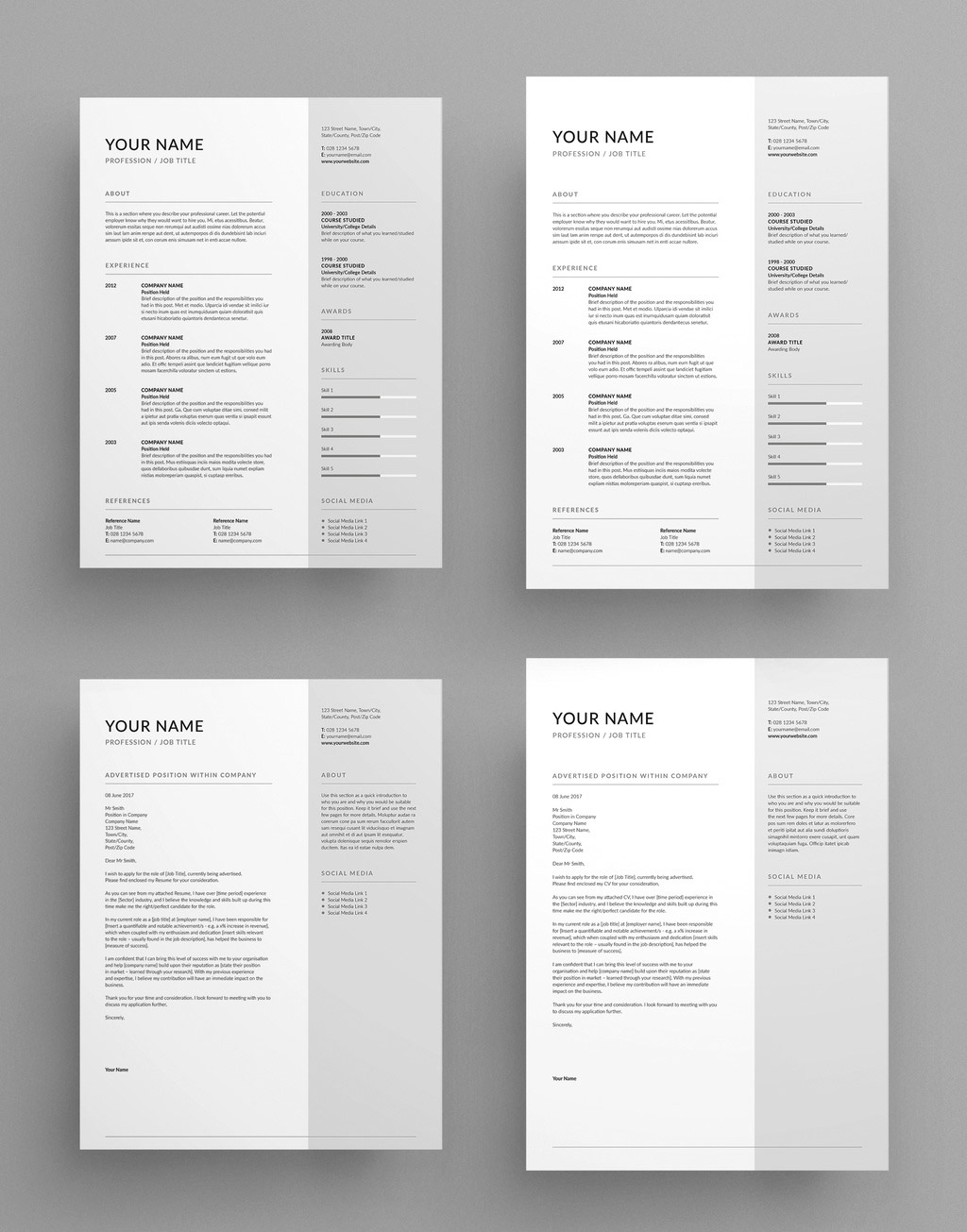 Simple and clean contemporary resume and cover letter layout.