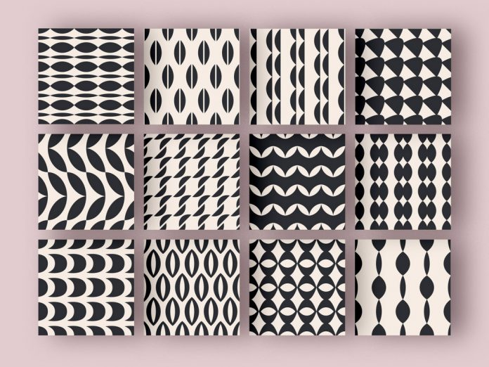 Fully editable black and white patterns.