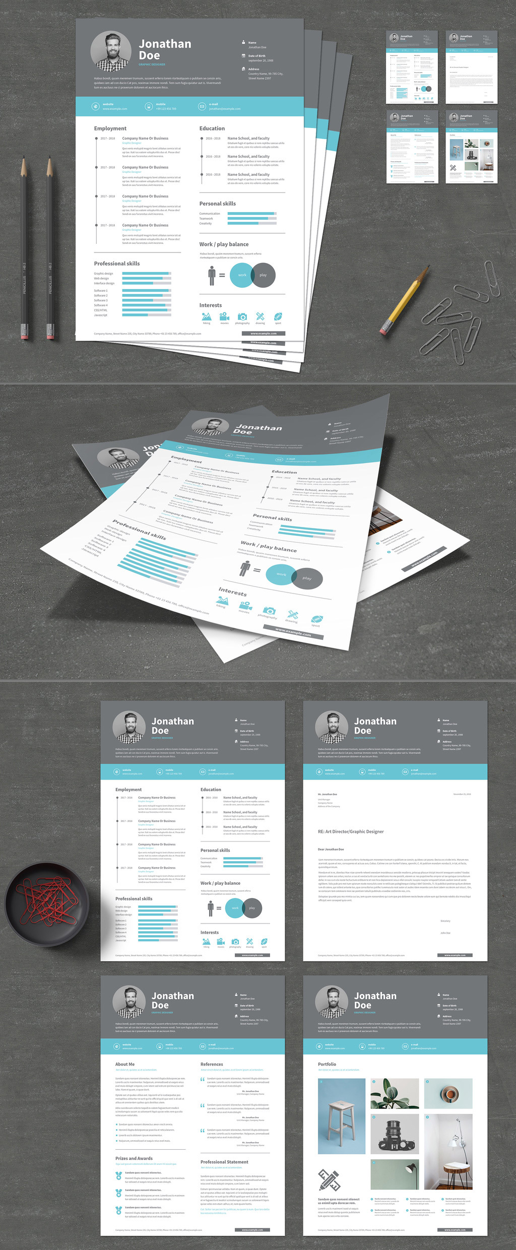 Resume and cover letter template with gray header and blue accents.