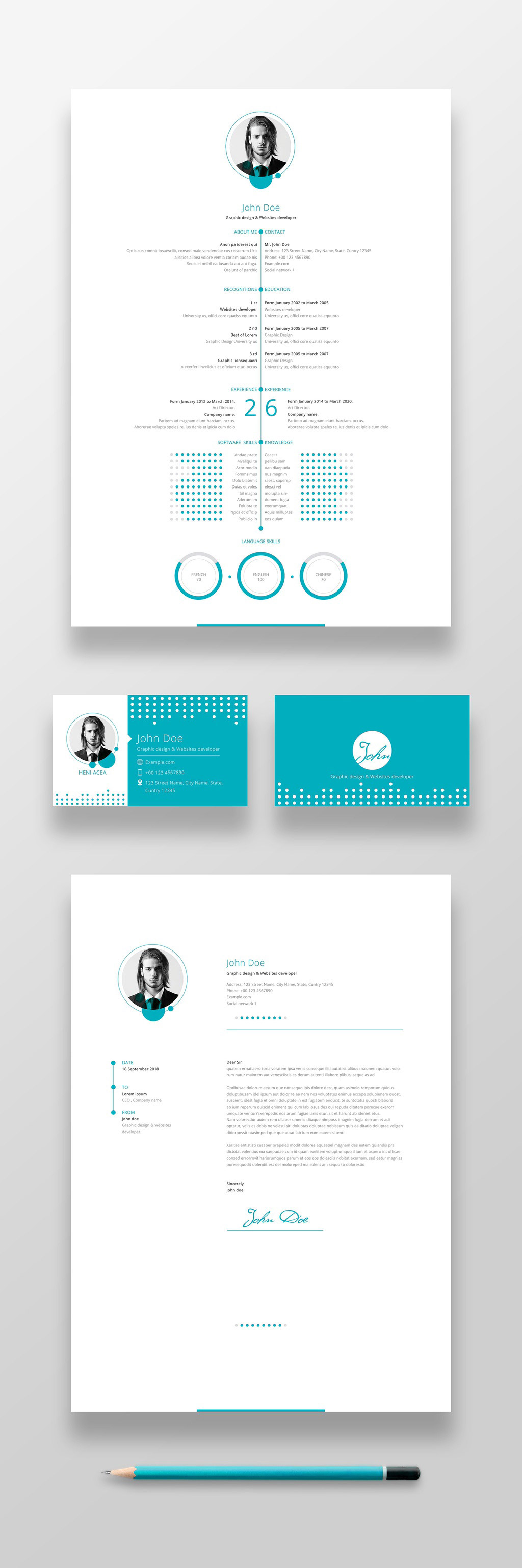 Blue resume, cover letter, and business card layout in a unique design.