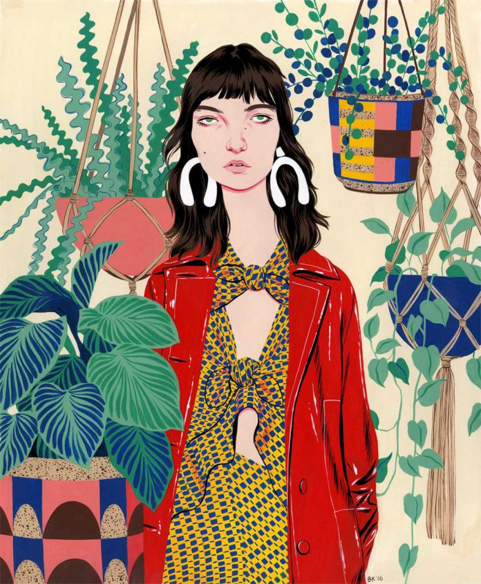 Female portraits painted by illustrator Bijou Karman.
