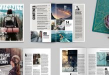 A4 InDesign magazine template with 32 pages.