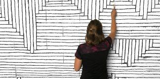 Geometric murals by Tanya Heidrich.