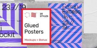 Glued poster mockups scene generator.