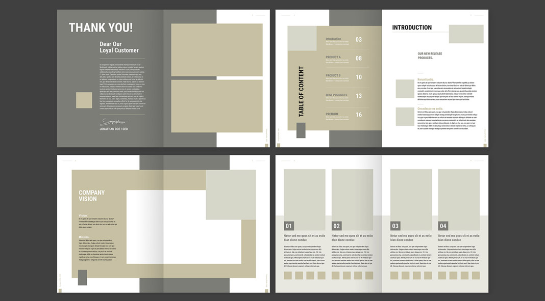 Simple to use product catalog template for Adobe InDesign.
