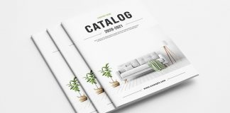 Product catalog template for Adobe InDesign with green accents.