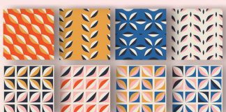 Seamless patterns consisting of simple geometric shapes.