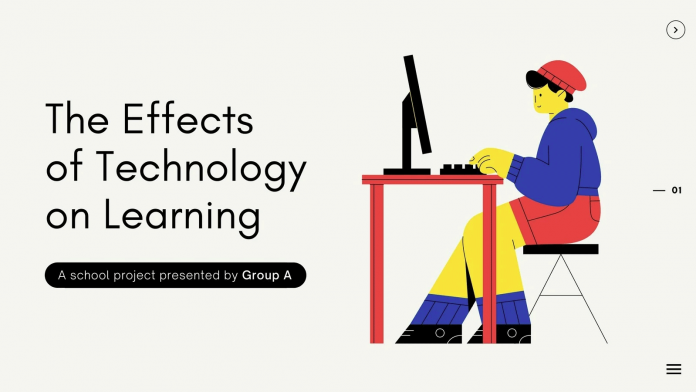 A colorful modern illustrated learning and technology school project education Canva presentation.
