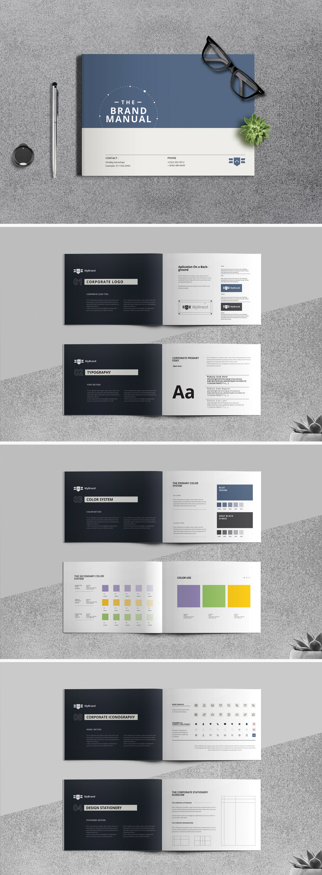 A minimalist brand identity brochure template for Adobe InDesign.