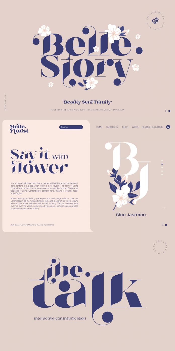 Belle Story font family by Kadek Mahardika of Creativemedialab.