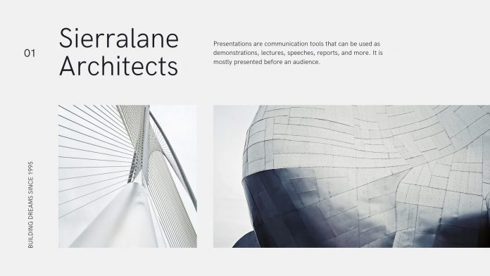 Gray and white corporate architecture Canva template.