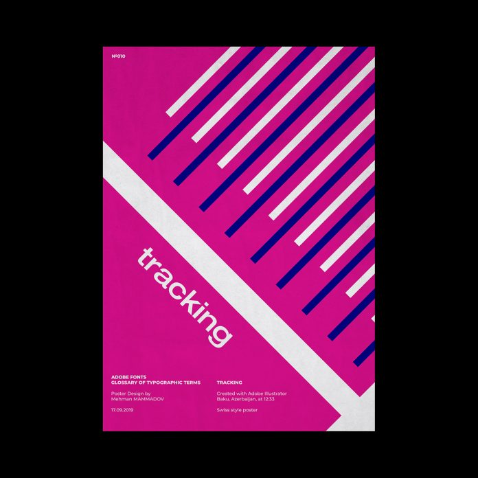 TRACKING, typographic poster design inspired by Swiss graphic design.
