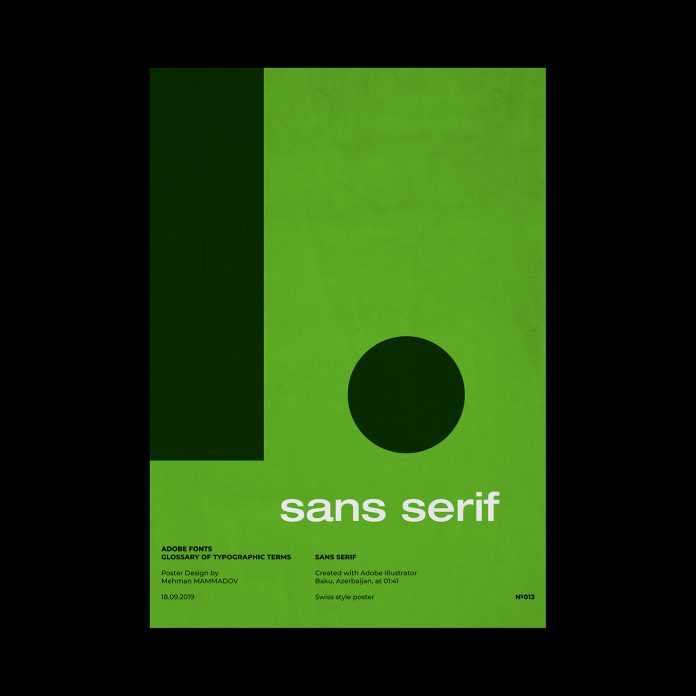SANS SERIF, typographic poster design inspired by Swiss graphic design.