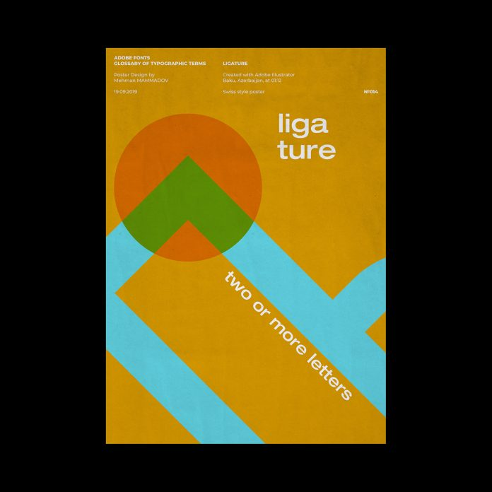 LIGATURE, typographic poster design inspired by Swiss graphic design.