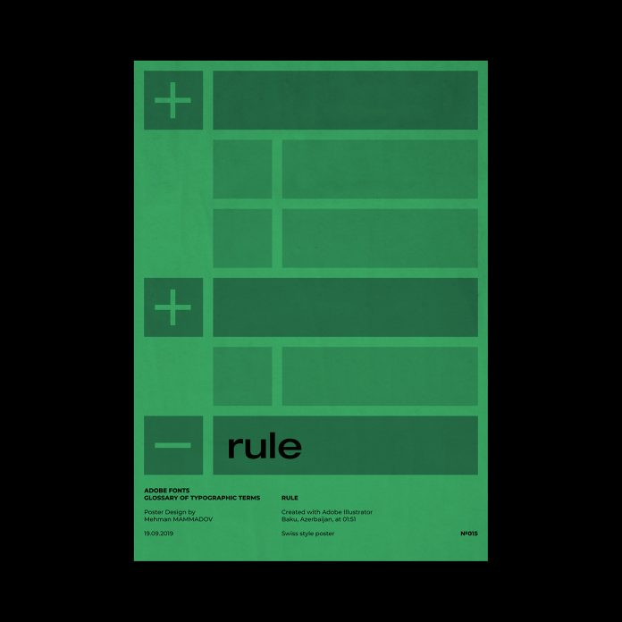 RULE, typographic poster design inspired by Swiss graphic design.