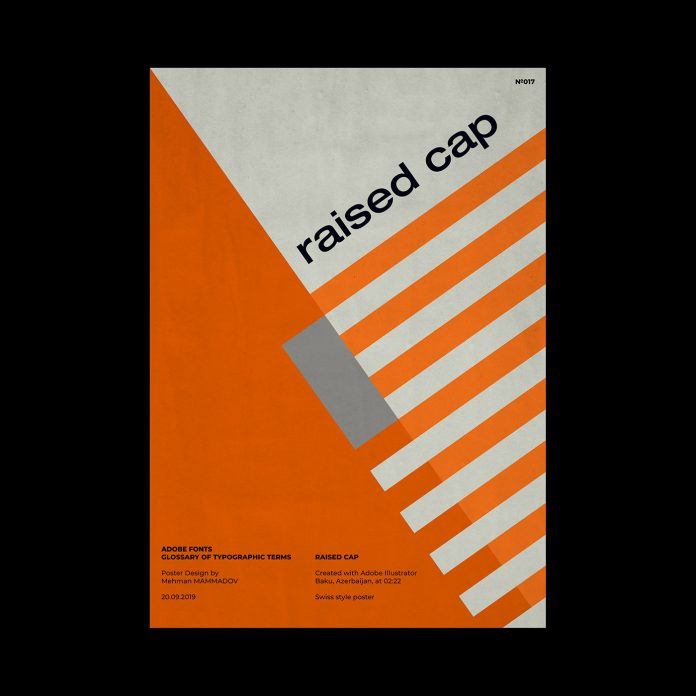 RAISED CAP, typographic poster design inspired by Swiss graphic design.
