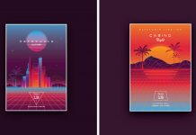 1980s and cyberpunk inspired poster design templates available as fully editable vector graphics.