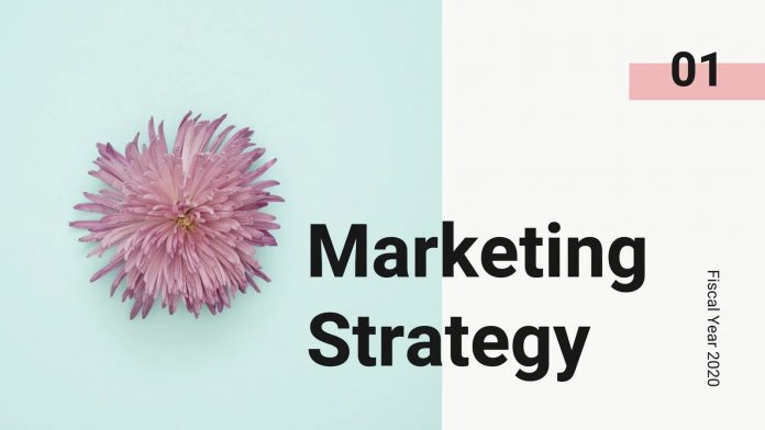 Light blue and coral marketing strategy Canva presentation.