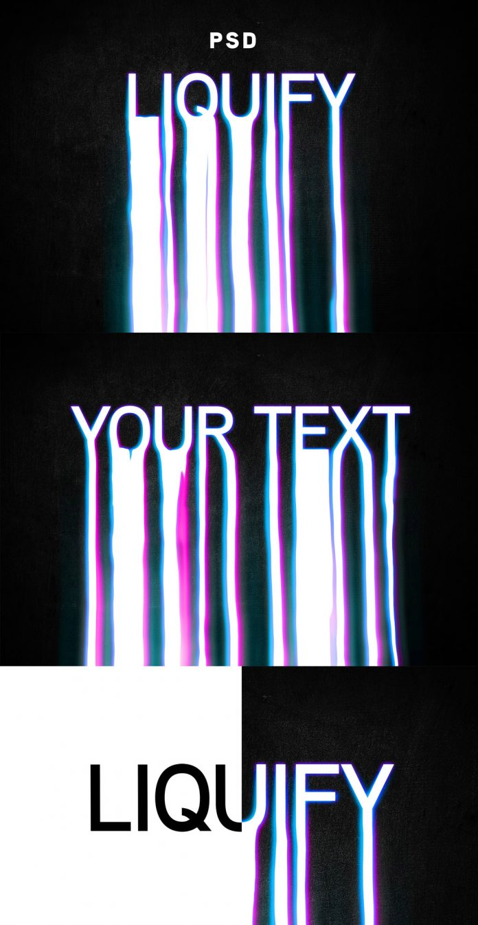 The stylish liquid text effect template can be used in Adobe Photoshop.