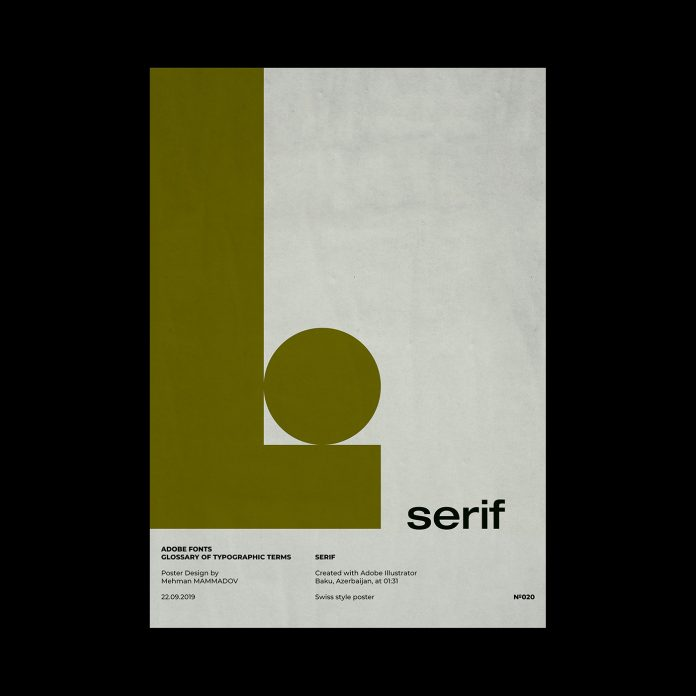 SERIF, typographic poster design inspired by Swiss graphic design.