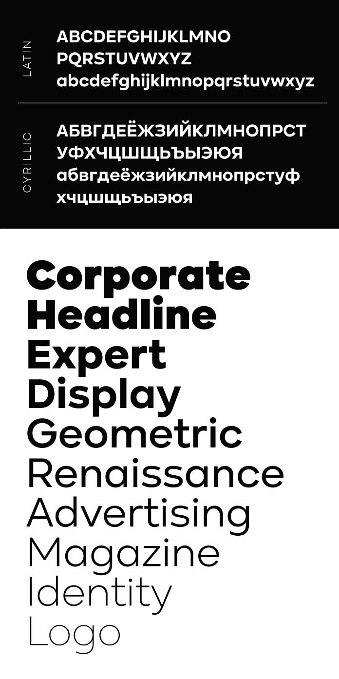 Kinetika, a geometric sans serif font family by Galin Kastelov.