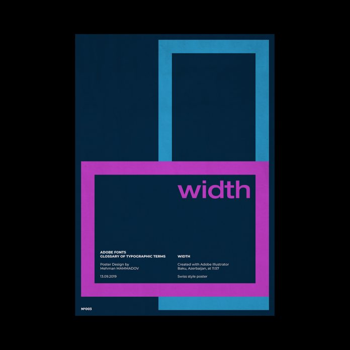 WIDTH, typographic poster design inspired by Swiss graphic design.