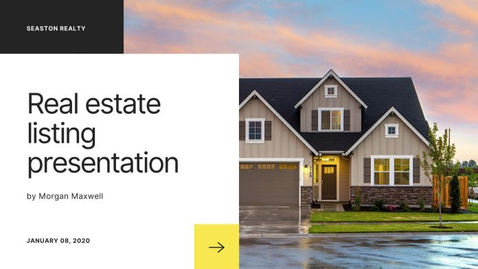 Black and white simple real estate listing presentation for Canva.