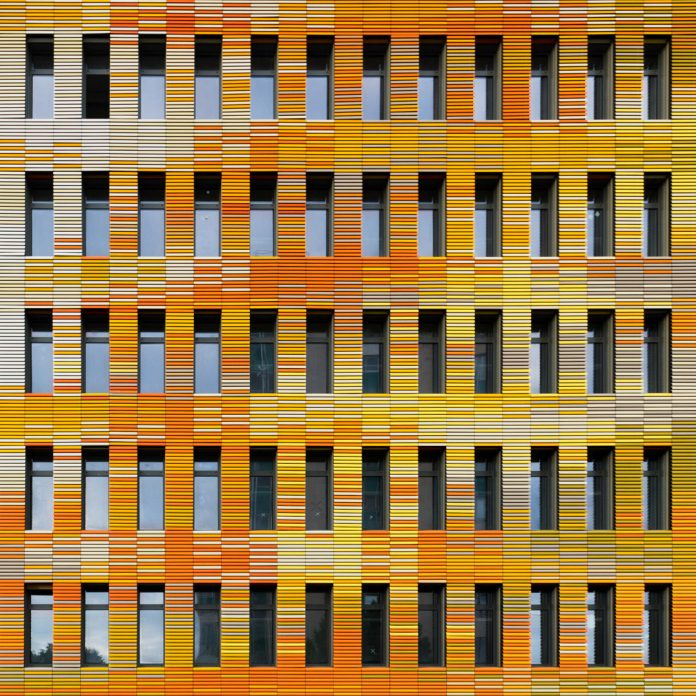 Architectural photography of colorful facades shot by Marco de Groot.