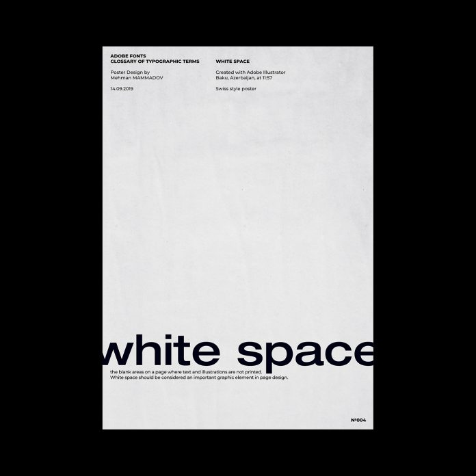 WHITE SPACE, typographic poster design inspired by Swiss graphic design.