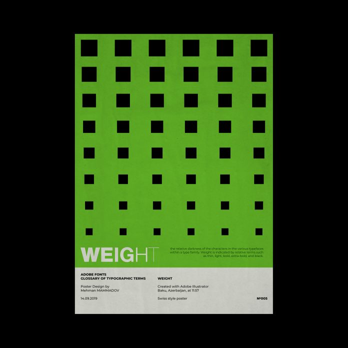 WEIGHT, typographic poster design inspired by Swiss graphic design.