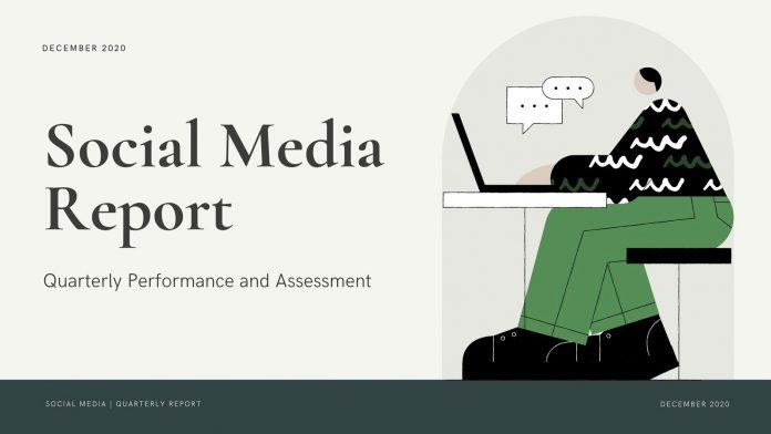 Green illustrated social media marketing report presentation for Canva.