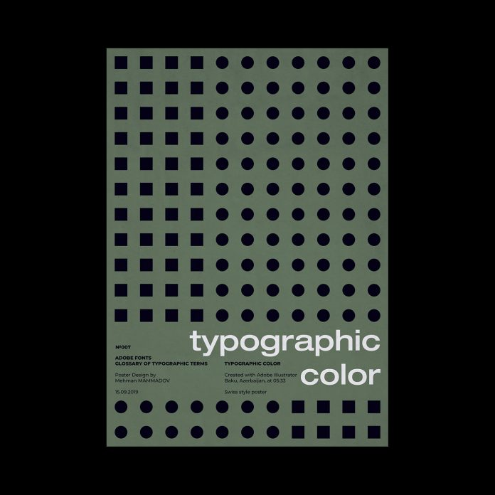 TYPOGRAPHIC COLOR, typographic poster design inspired by Swiss graphic design.