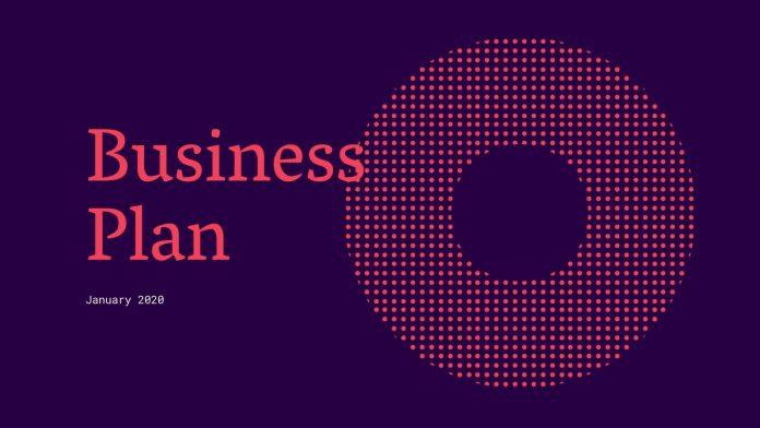 Purple and red geometric business plan presentation.
