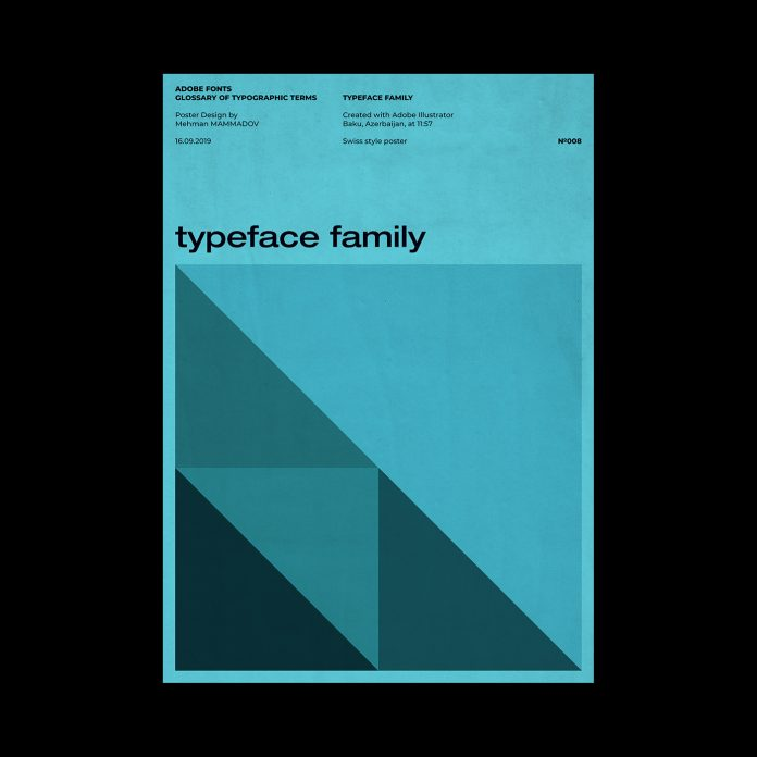 TYPEFACE FAMILY, typographic poster design inspired by Swiss graphic design.