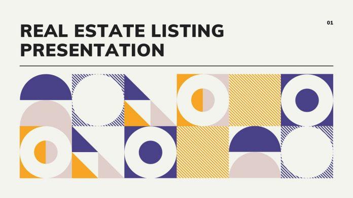 Geometric real estate listing Canva template presentation.