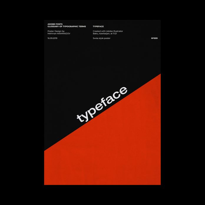 TYPEFACE, typographic poster design inspired by Swiss graphic design.