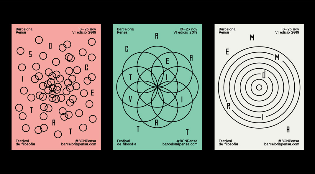 Barcelona Pensa branding and poster series by Studio Carreras.