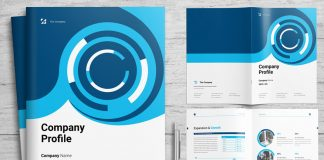 Corporate Profile Booklet Template with Blue Accents