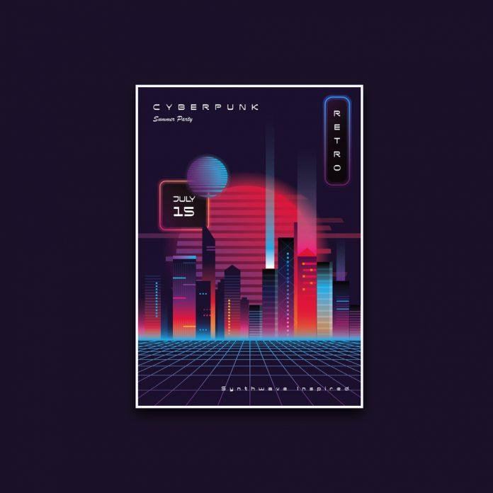 Cyberpunk Summer Party Poster Template.
